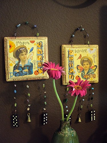 Altered Art ,2 Pieces of Mixed Media Wall decor with wind chimes