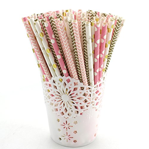 Zicome 125pcs Biodegradable Paper Straws, Pink and Gold