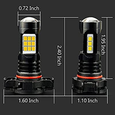 JDM ASTAR Extremely Bright PX Chips 5202 5201 LED Fog Light Bulbs, Golden Yellow: Automotive