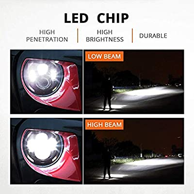 IRONWALLS 2PCS DOT Approved 7'' inch Led Headlights Headlamps Angel Eye Round Halo Black For Jeep Wrangler JK CJ TJ LJ 2 Door 4 Door Land Rover Hummer: Automotive