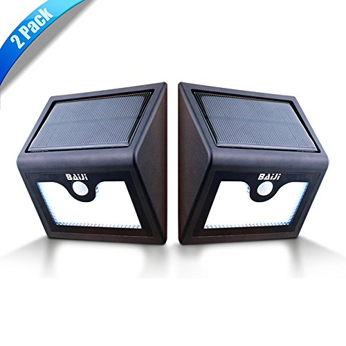 BaiJi Solar Lights, 28 LED Super Bright Outdoor/Garden Waterproof Solar Motion Wall Light - Wireless Security for Path /Porch /Deck/Pole/Driveway/Stairs with Two Modes Motion Activated (2 Pack)