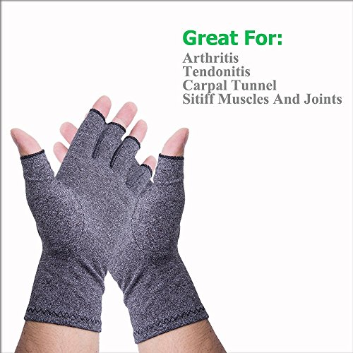 Dr.Jin's Arthritis Compression Gloves Warmth for Women Fingerless Gloves for Men Relief of Rheumatoid and Osteoarthritis Joint Pain RSI Carpal Tunnel,Easy Gloves for Computer Typing Daily Work by Dr.Jin