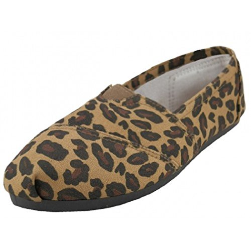 Easy Usa Mujeres Canvas Slip On Zapatos Flats 2 Tonos 10 Colores (5, Leopard 308l)