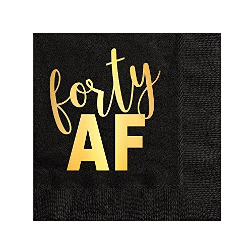 Forty AF Napkins, Cocktail Napkins, Beverage Napkins, 40th Birthday Party Napkins, Gold Foil, 40 AF, Black and Gold Napkins, Set of 25, 40 AF Decorations, Funny 40th Birthday -