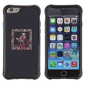 Híbridos estuche rígido plástico de protección con soporte para el Apple iPhone 6 (4.7) - crow frame blood red splatter minimalist