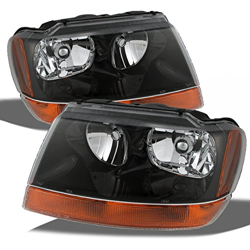 For Jeep Grand Cherokee OE Replacement Black Headlights Driver/Passenger Amber Head Lamps Pair
