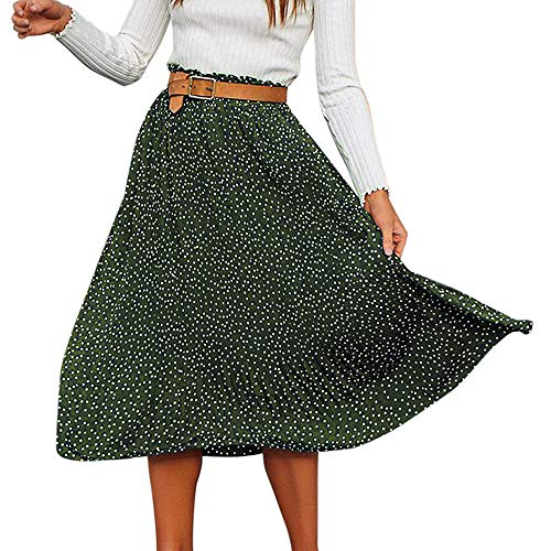 DEATU Women Skirt Clearance Sales! Ladies Elegance Pleated Fashion Polka Dot Printed Swing Boho Long Maxi Evening Party Skirt(Green ,S) (2 Jeans Sims)