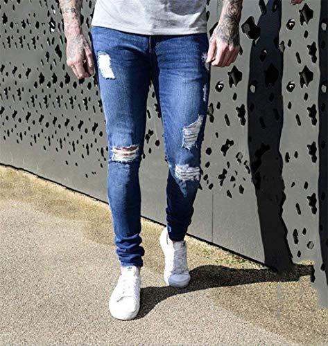 Elasticizzati Attillati Strappati Hellblau Fitness Da Jeans Casual Di Zip Especial Aderenti Estilo Pantaloni Con Uomo Nudi Moda qZTxEW5xCw