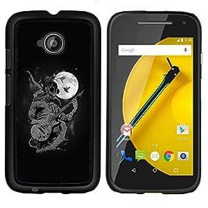 For Motorola Moto E2 E2nd Gen Case , Goth Punk Estrella del rock en la Luna- Diseño Patrón Teléfono Caso Cubierta Case Bumper Duro Protección Case Cover Funda