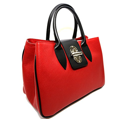 Woman Bag Arno, genuine Leather, Made in Italy, CREEO, Navy Blue (Navy Blue) (Red) by CREEO