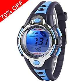 Viliysun Kid Watch Multi Function Digital LED Sport 50M Waterproof Electronic Digital Watches for Boy Girl Children Gift Blue