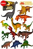Large Dinosaur Toys , 12pc Plastic Dinosaurs Figures - T Rex , Triceratops , Brachiosaurus, Stegosaurus , Ankylosaurus Toy Figurines Gifts Set , Bonus Dino Guide for Kids , Toddlers, 6 5 4 3 Year Olds