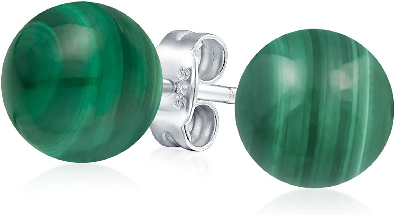 Simple Piedras Preciosa Verde Malaquita Pendiente De Boton Bola Redonda Para Mujer 925 Plata De Ley 925 8Mm