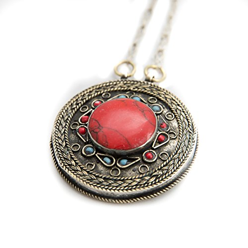Duel on Jewel Tribal Afghani Tribal Engraved Antique Round Pendant with Chain Simulated (Exotica Pendant)