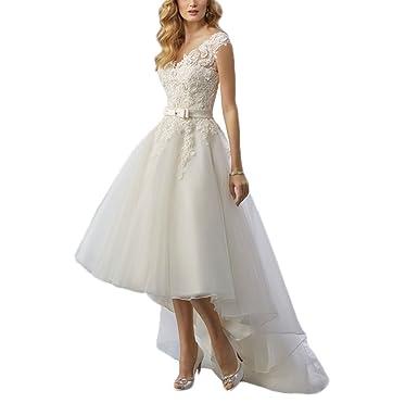 Kmbridal Vintage Lace Rustic Wedding Dress Beach High Low Bridal Dresses Gowns Organza V Back