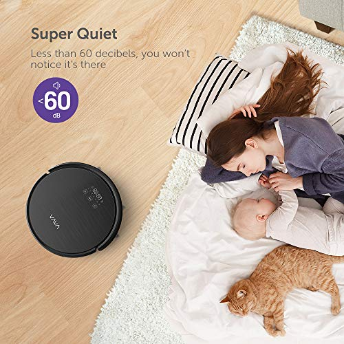 VAVA Robot Vacuum Cleaner 1300Pa Strong Suction, Self-Charging Sweeping Robot Good for Pet Hair-Black