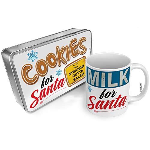 NEONBLOND Cookies and Milk for Santa Set Straight Outta Salem Halloween Jack-O'-Lantern Christmas Mug Plate Box -