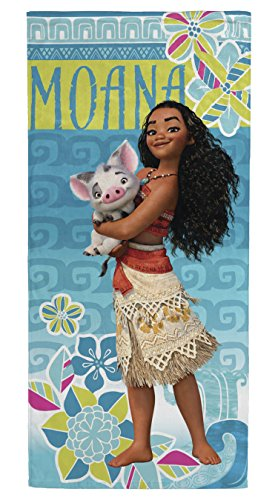 Jay Franco Disney Moana Teal Floral Kids Bath/Pool/Beach Towel - Super Soft & Absorbent Fade Resistant Cotton Towel, Measures 28 inch x 58 inch (Official Disney Product)