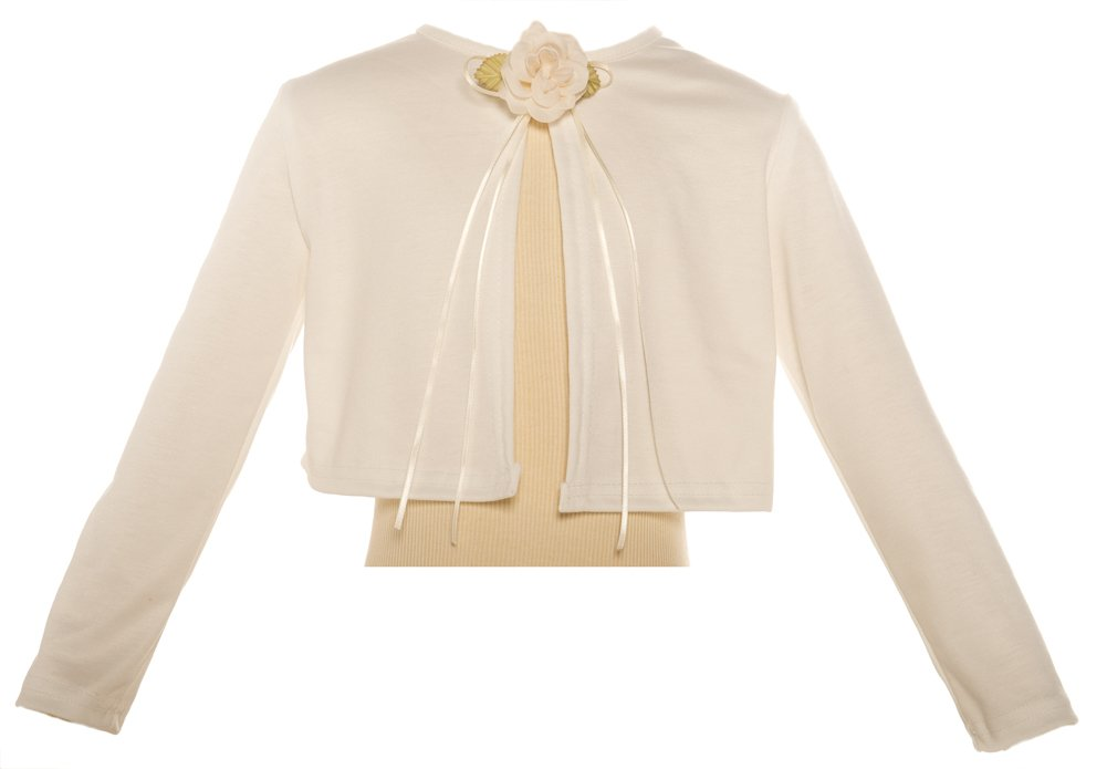 Basic Knit Special Occasion Girl's Cardigan Jacket Sweater - Ivory Girl 7/8