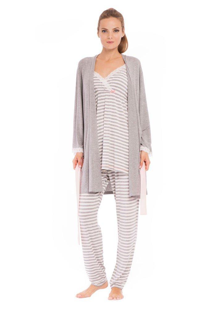 Olian ''Anne'' Nursing Stripe Cami/Pajama Set with Baby Gown, Grey Stripes, Large by Olian (Image #5)