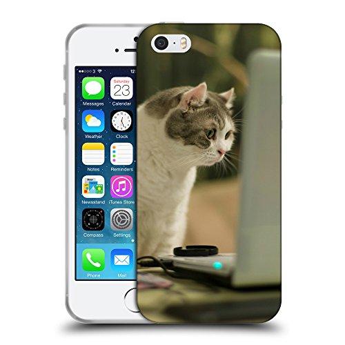 Just Phone Cases Coque de Protection TPU Silicone Case pour // V00004202 Chat regardant l'écran d'ordinateur // Apple iPhone 5 5S 5G SE