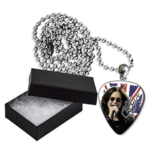 Ozzy Osbourne Black Sabbath Flag Metal Guitar Pick Necklace Ball Chain Collier Médiator