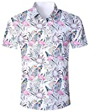 ALISISTER Flamingo Shirt Men Hawaiian Aloha Short Sleeve Dress Shirt Button Fly Collar 3D Blouse Holiday Travel Beach Suit XL