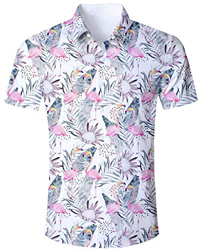 (ALISISTER Men Flamingo Shirt Button-Down Hawaiian Shirts Tropical Floral 90S Dress Blouse Short Sleeved Party Bath Swimwear White XXL)
