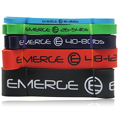 Cheap Emerge Pull Up Resistance Bands by Unique Composite High-Density Gym and Powerlifting Training Bands For Leg Training Core Strength Resistance Excercises Flexibility and Mobility