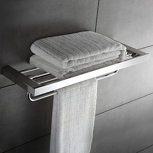 KOOLIFT Towel Rack Shelf with Single Fold-able Towel Bar Holder Bath Towel Hanging 24 Inch Heavy Duty Space Saving Wall Organizer Contemporary Square Hotel Style Rustproof Stainless Steel Brushed by by KOOLIFT