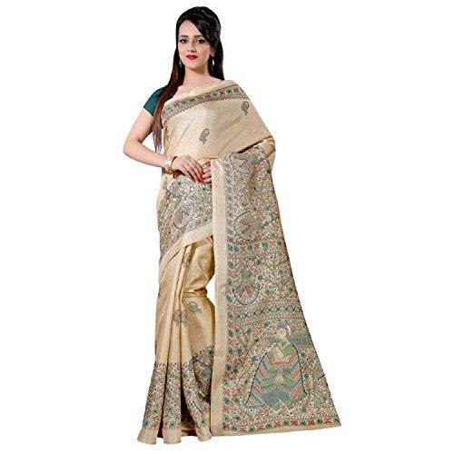 Muta Fashion Bhagalpuri Silk Ethnic Printed Women Saree (Cream)