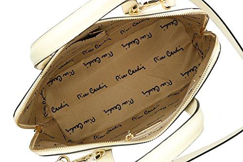 Tasche damen mit schultergurt PIERRE CARDIN creme leder Made in Italy VN1312