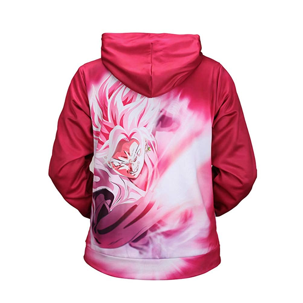 Red Pullover Pocket Fleece Blouse Dragon Ball Cartoon 3D Print Men and Women Hooded Sweatshirt