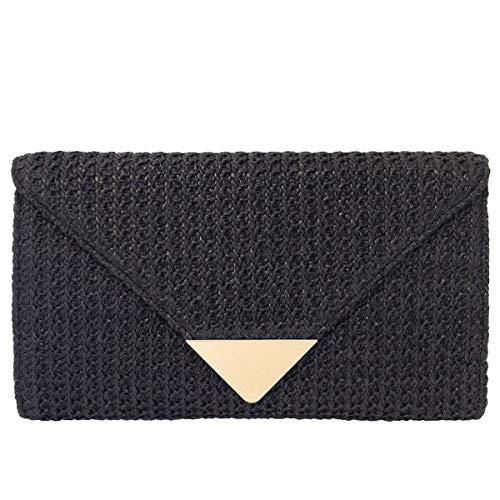 Natural Straw Clutch, Black Clutch Black Straw Handbags