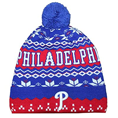 PHI Phillies Adult Winter Hat / Beanie with Removable Pom Pom