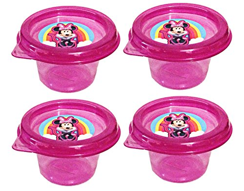 Disney Minnie Mouse Mini Plastic Reuseable Snack Containers with Lids 4 Fl Oz (Set of 4)