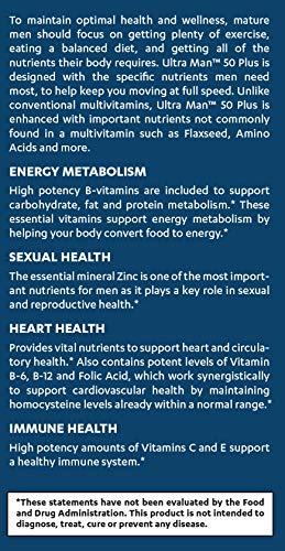 Vitamin World Ultra Man 50 Plus Daily Multivitamin Feat. Zinc, Flaxseed, Amino Acids, Vitamins B6, B12, C, E, Folic Acid Health Wellness Multi-Supplement for Men Over 50, 120 Caplets