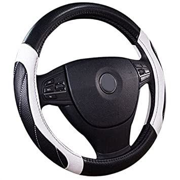 Semoss Universal Genuine Leather Car Steering Wheel Cover with Stitching Anti Slip Function White / Black 37-38cm Castho SILK-38cm-WHTBLK1