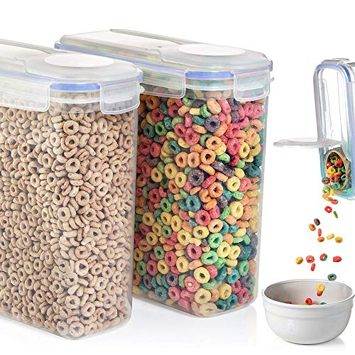 Cereal Storage Container Food Storage Containers 2 Container Set (16.9 Cup 135.2oz) Dry Food Storage Containers with Lids Suitable For Cereal, Flour, Sugar, Rice Airtight Food Storage Containers ()