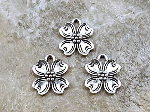 Dogwood Flower Charm - 3 Pewter Dogwood Flower Charms -0826 for Jewelry Making Bracelet Necklace DIY Crafts