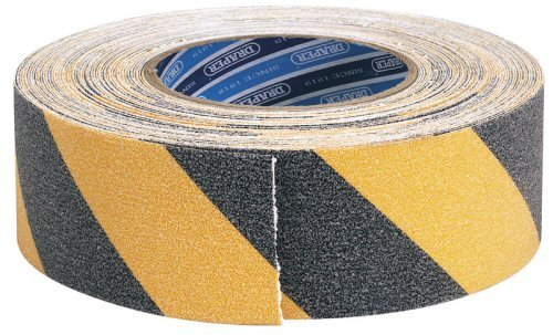 Draper 65440 - Cinta de seguridad (18 m x 50 mm), color negro y amarillo Draper Tools TP-S/GRIP/HZ