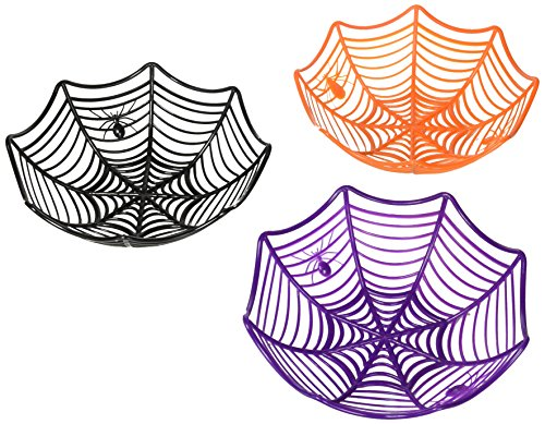 SALE - 3 Large Spider Web Plastic Basket Bowls for Halloween Parties -