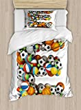 Letter E Twin Size Duvet Cover Set by Ambesonne, ABC of Sports Concept Different Gaming Balls First Name Initial Monogram Design, Decorative 2 Piece Bedding Set with 1 Pillow Sham, Multicolor