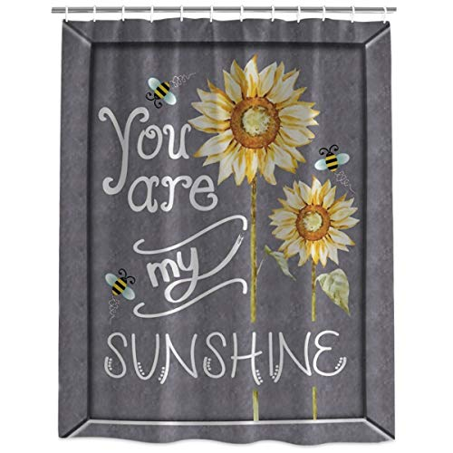 Polyester Fabric Shower Curtain Liner with Hooks Waterproof Stall Bathtub Curtains Set for Bathroom Decor - 72 x 72 Inch, You are My Sunshine Sunflower and Bee