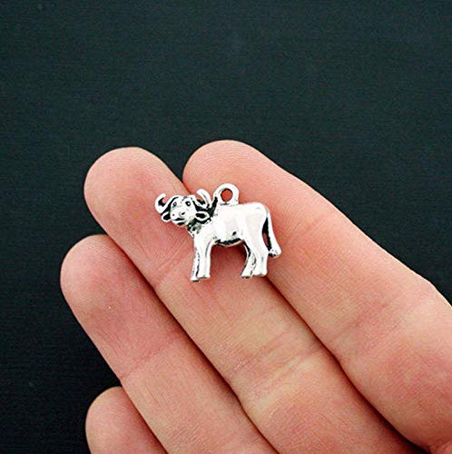 2 Water Buffalo Charms Antique Silver Tone 3D Cow Vintage Crafting Pendant Jewelry Making Supplies - DIY for Necklace Bracelet Accessories by CharmingSS ()