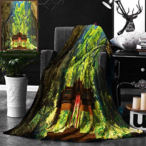 Unique Custom Double Sides Print Flannel Blankets Natural Cave Decorations Latent Pavilion In Between The Cliffs Discovery Of Faith Super Soft Blanketry for Bed Couch, Throw Blanket 50 x 60 Inches by Ralahome