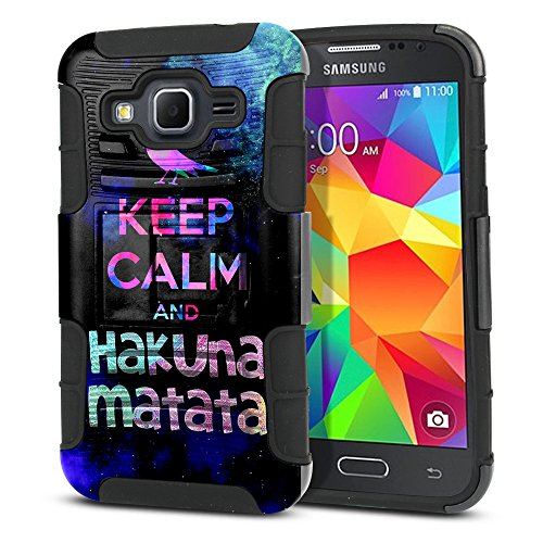 FINCIBO Case Compatible with Samsung Galaxy Core Prime G360 Prevail LTE, Dual Layer Hybrid Armor Protector Case Cover Stand Soft TPU for Galaxy Core Prime G360 - Keep Calm and Hakuna Matata (Style 1)