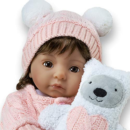 Knit Ensemble - Paradise Galleries Silicone Baby Girl Reborn Doll - Cable Knit Cutie, 16 inches, Weighted Body, FlexTouch Vinyl, 8-Piece Baby Doll Ensemble