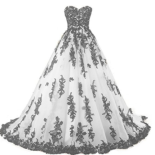 Vintage Gothic Black Lace Ball Gown Long Prom Dresses Wedding Gowns White US 16