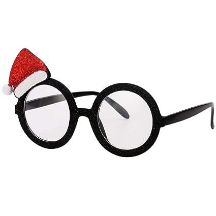 4ef73fc5b1c Amazon.com  Ocean Line Glittered Christmas Hat Sunglasses – Fun Glasses